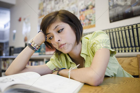 School : High school student studying