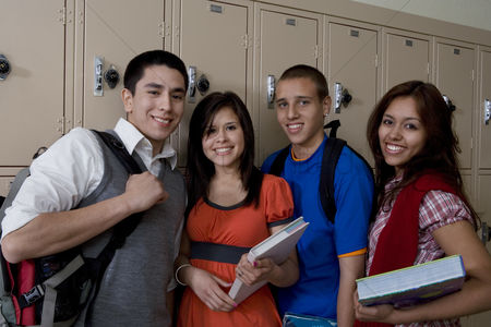 School : High school students beside school lockers