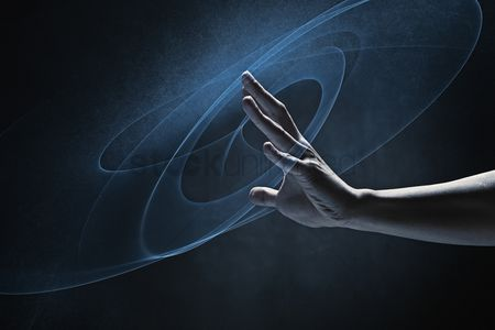 Black background : Human hand reaching out
