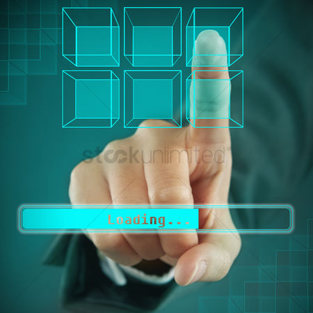 Selection : Index finger pointing at a digital cube