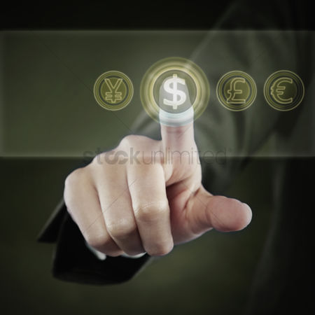 Malaysian chinese : Index finger pointing at a dollar symbol