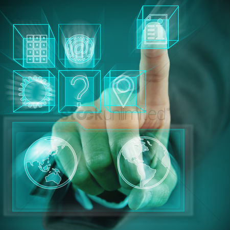 Selection : Index finger pointing at digital cubes with different symbols