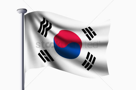 Korea republic : Korea republic flag waving