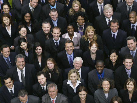 Smile : Large group of business people looking up portrait elevated view