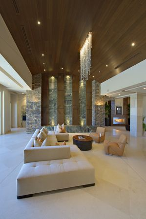 High ceiling : Living room interior with modern lighting and furniture