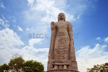 Sculpture : Low angle view of statue of lord buddha  thai temple  sravasti  uttar pradesh  india