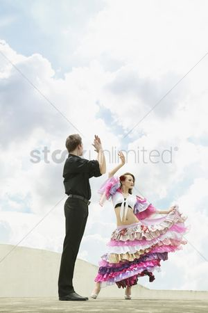 Traditional clothing : Man and woman dancing the flamenco