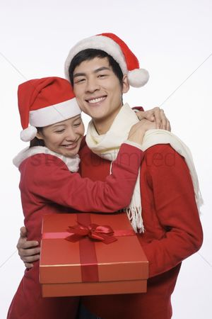 Traditional clothing : Man and woman with a gift