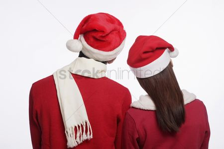 Traditional clothing : Man and woman with santa hat