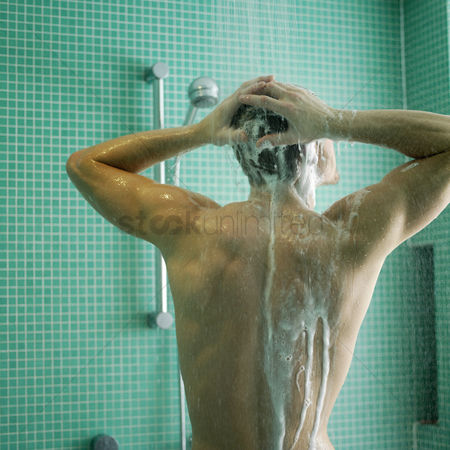 Head shot : Man enjoying his shower time
