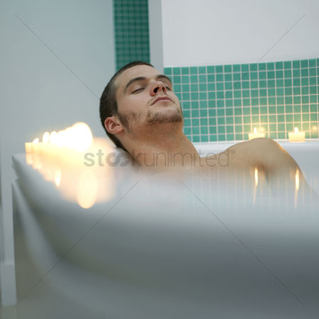 Adulthood : Man enjoying spa treatment