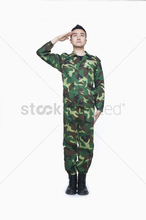 Respect : Man in military uniform saluting