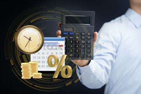 Count : Man presenting financial calculation concept
