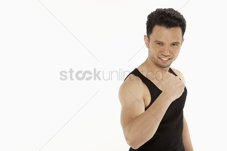 Excited : Man showing off his muscles
