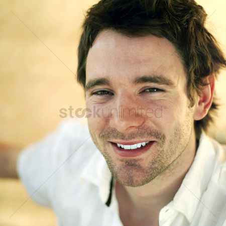 Outdoor : Man smiling happily