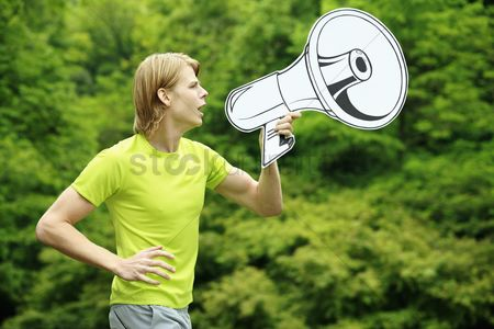 Cardboard cutout : Man speaking through megaphone