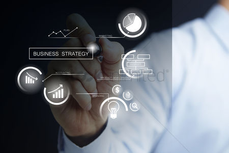 Media : Man with business strategy concept