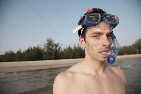 Diving : Man with scuba mask