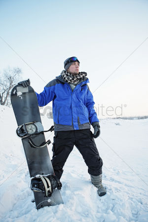 Jacket : Man with snowboard