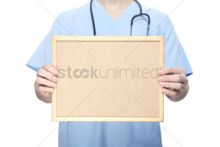 Medical personnel : Medical personnel with a blank board