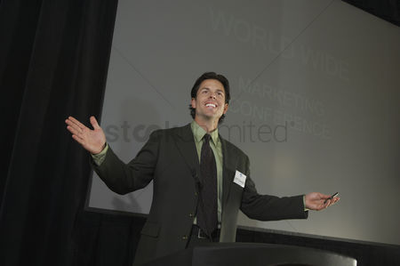One man only : Mid adult man during presentation at conference