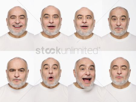 Contemplation : Montage of man pulling different expressions