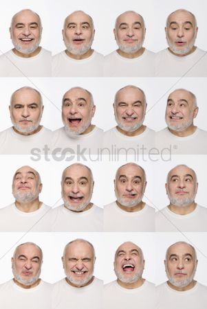 Aging process : Montage of man pulling different expressions