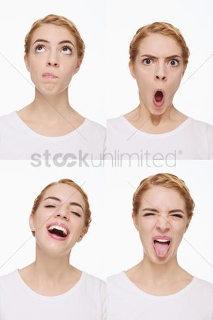 Wondering : Montage of woman pulling different expressions