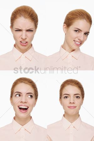 Rage : Montage of woman pulling different expressions