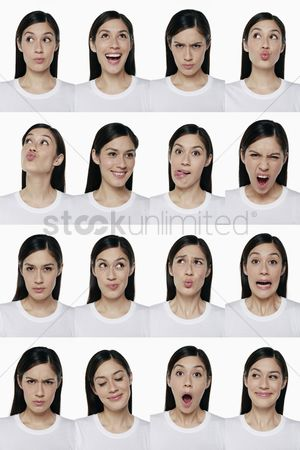 Head shot : Montage of woman pulling different expressions