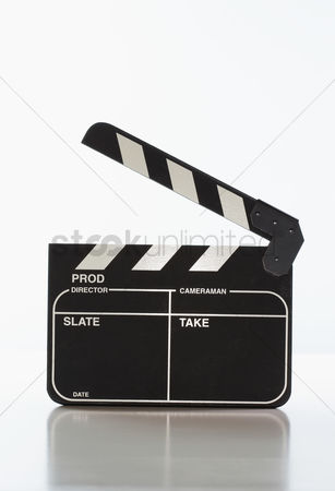 Black background : Motion picture clapper board