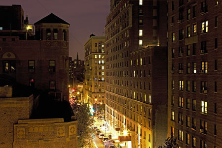 Travel : New york city street and housing elevated view at night