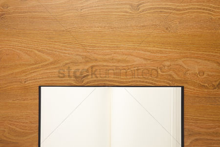 Blank : Open book on desk background with copyspace