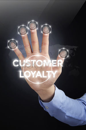 Count : Palm with a digital technology text customer loyalty