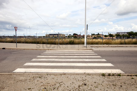 Moody : Pedestrian crossing in abandoned housing estate building site valencia region spain
