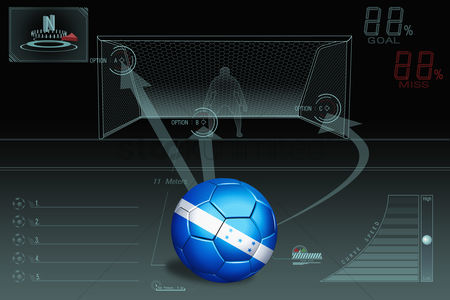 Nationality : Penalty kick infographic with honduras soccer ball