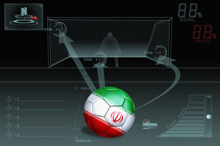 Iran : Penalty kick infographic with iran soccer ball