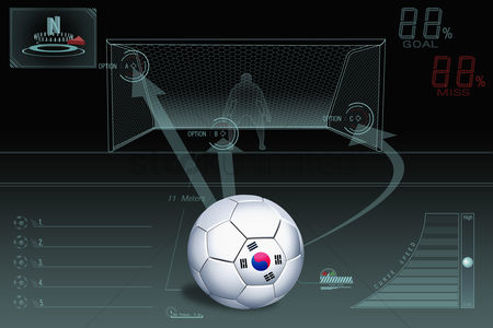 South korea : Penalty kick infographic with south korea soccer ball