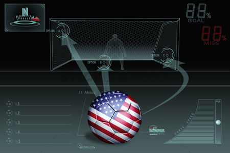Nationality : Penalty kick infographic with usa soccer ball