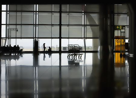 Spacious : Polished floor of airport terminal