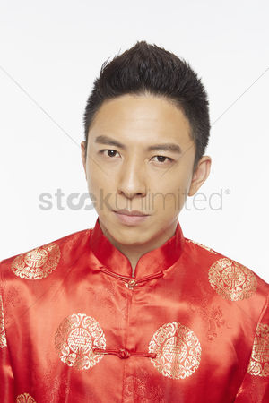 Lunar new year : Portrait of a man in traditional clothing