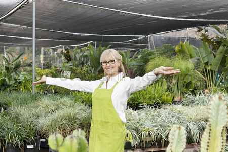 Greenhouse : Portrait of a senior woman standing with arms outstretched in garden center