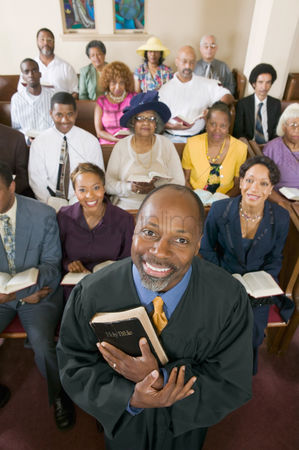Religion : Preacher and congregation portrait high angle view