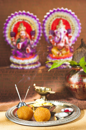 God : Preparation of lakshmi pujan a hindu ritual during diwali festival