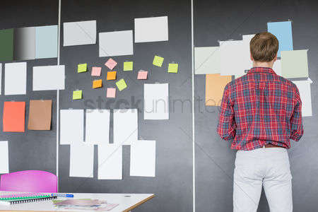Three quarter length : Rear view of businessman analyzing documents on wall at creative office
