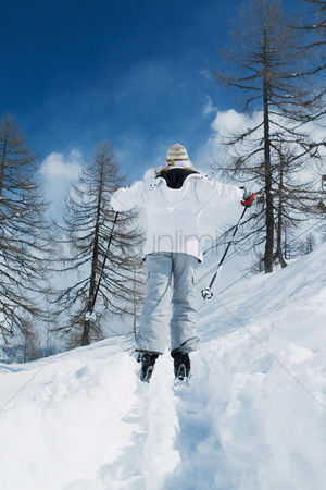 Coldness : Rear view of woman skiing