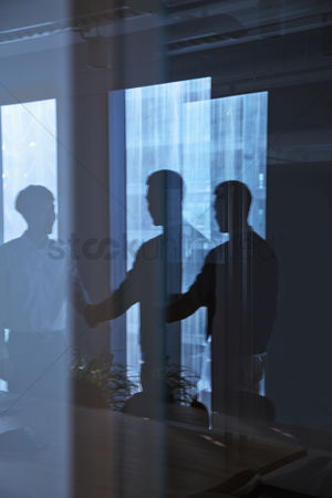 Advice : Reflection of two businessmen shaking hands