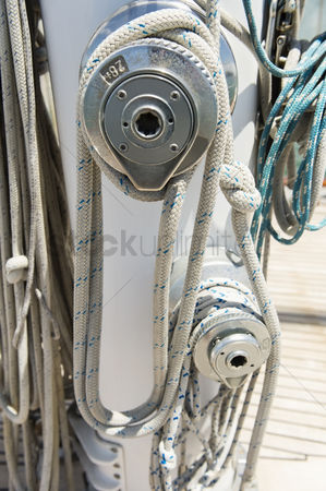 Rope : Ropes wound around winches on sailboat