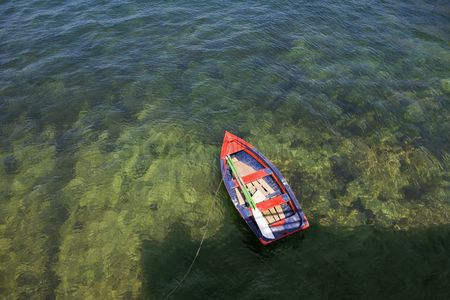 No people : Rowing boat in shallow water asurias spain