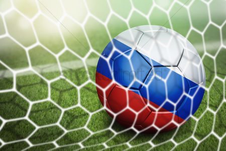 Pitch : Russia soccer ball in goal net